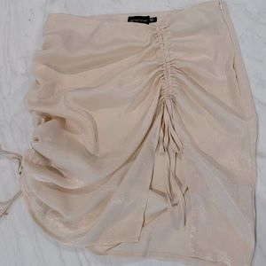 Pretty Little Thing Cream Satin Ruched Mini Skirt
